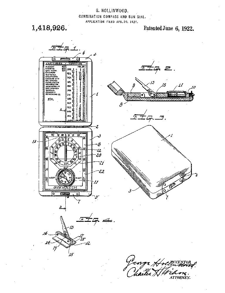 (Patent June 6, 1922 by George HOLLINWOOD, THE ANSONIA CLOCK Co.,